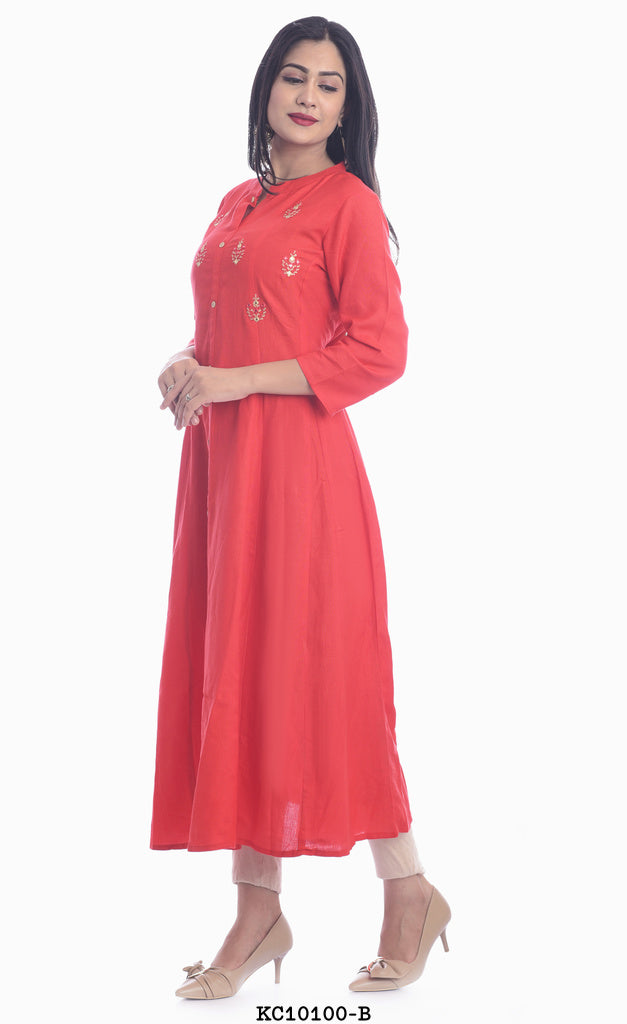 Designer High Neck Dark Orange Kurti