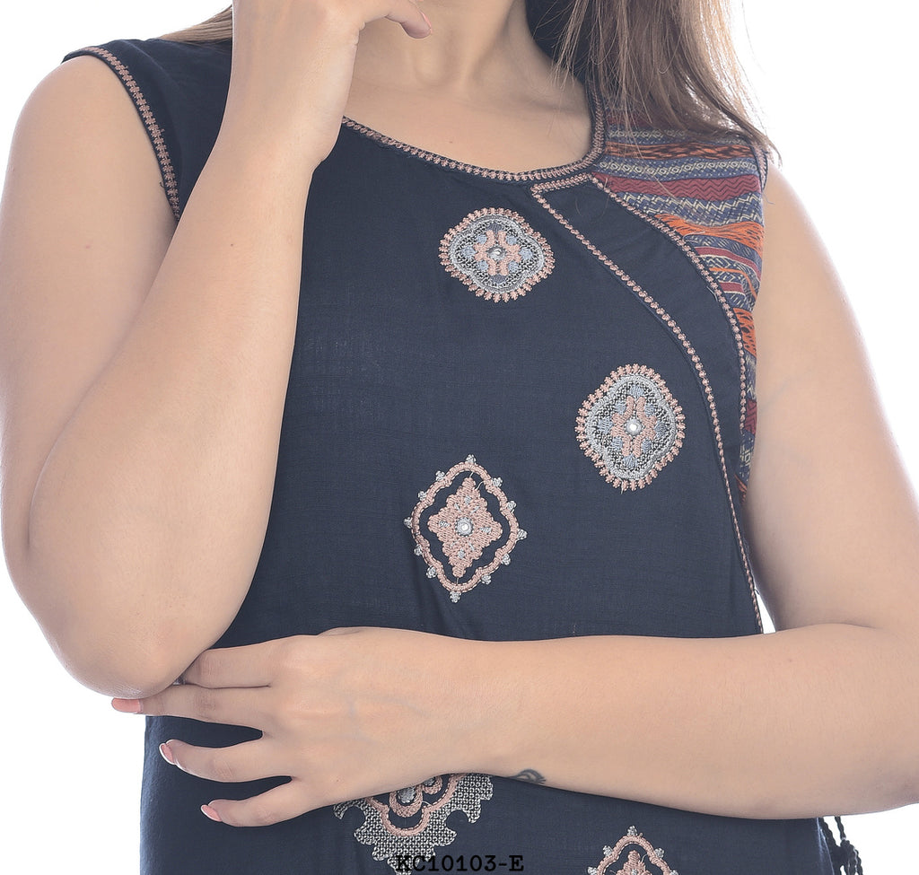 Designer Navy Blue with MultiColor Long Kurti