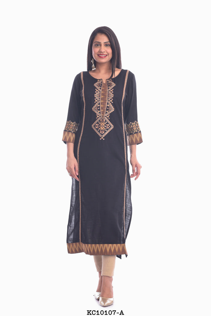 Dark Navy Blue kurti with golden color border work