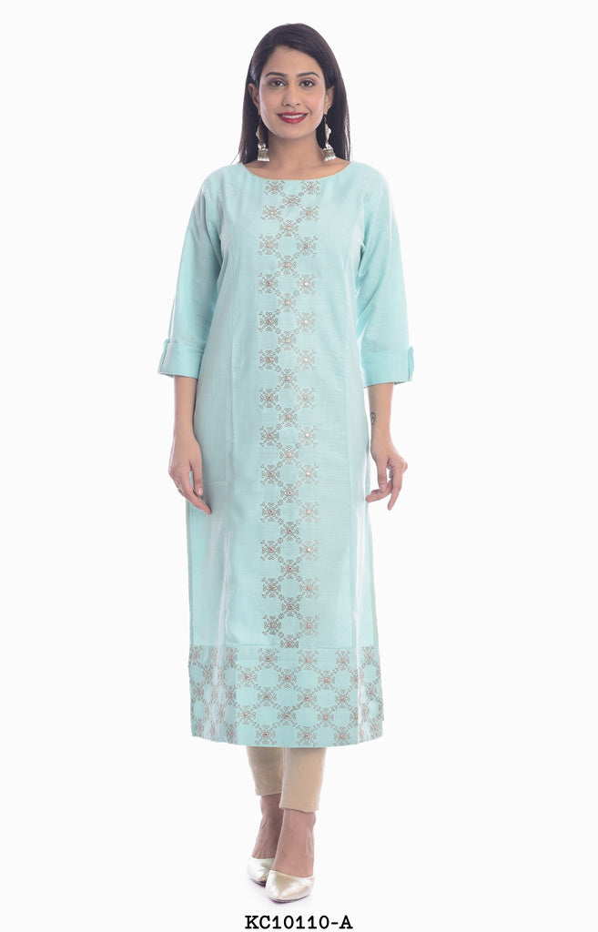 Women's Sky Blue Straight Kurti