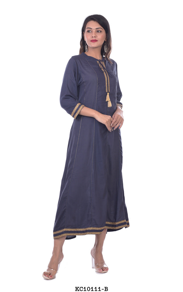 Designer High Neck Blue Kurti