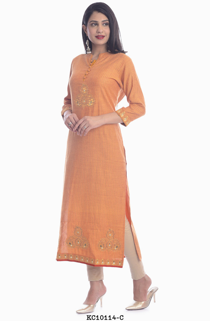 Women's High Neck Designer Orange Kurti