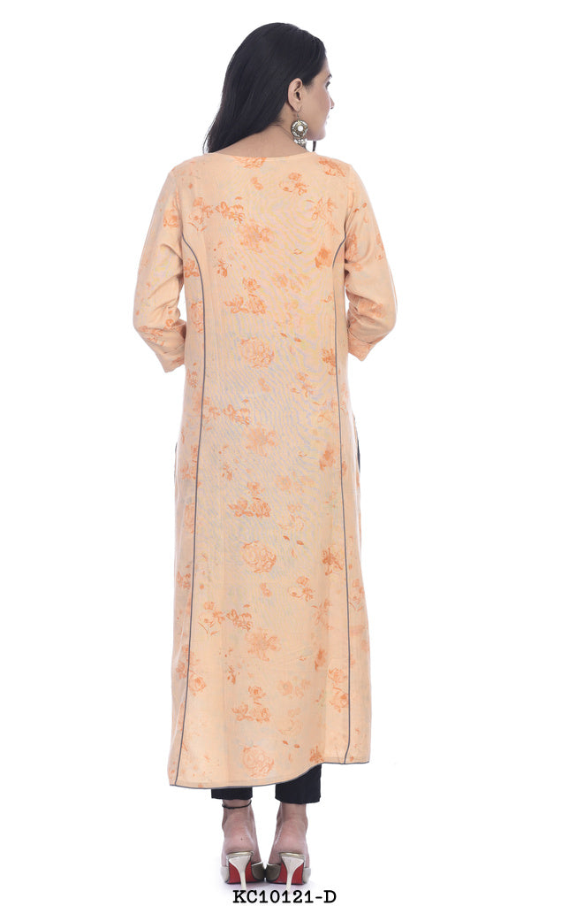 Light Peach Color Printed Kurti