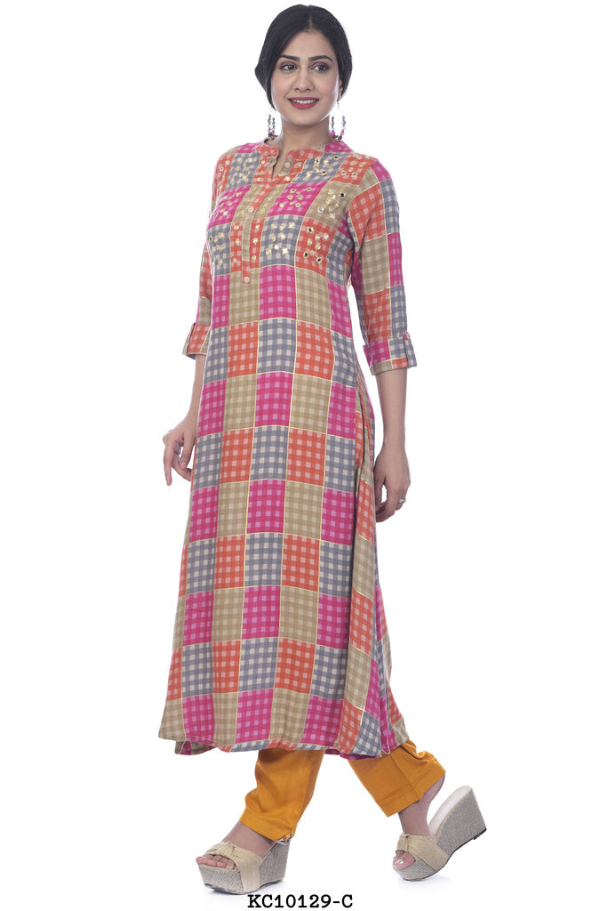 Women's multi colored printed kurta