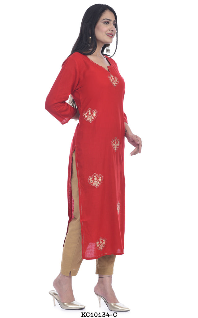 Red Color Printed Kurta