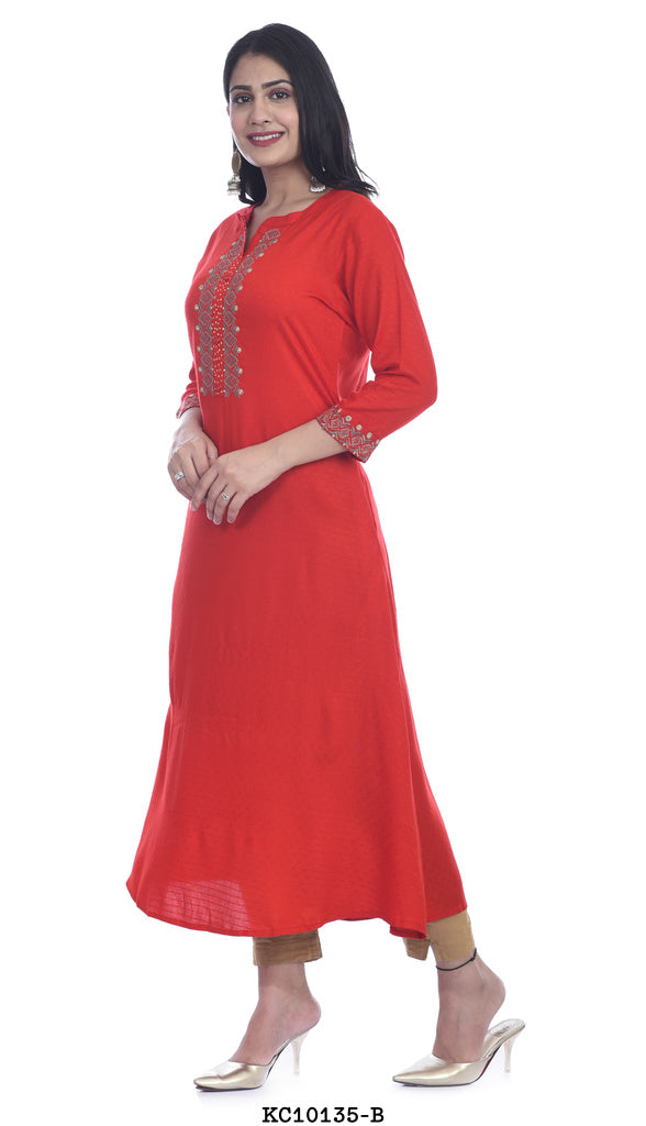 Red color high neck printed Kurta