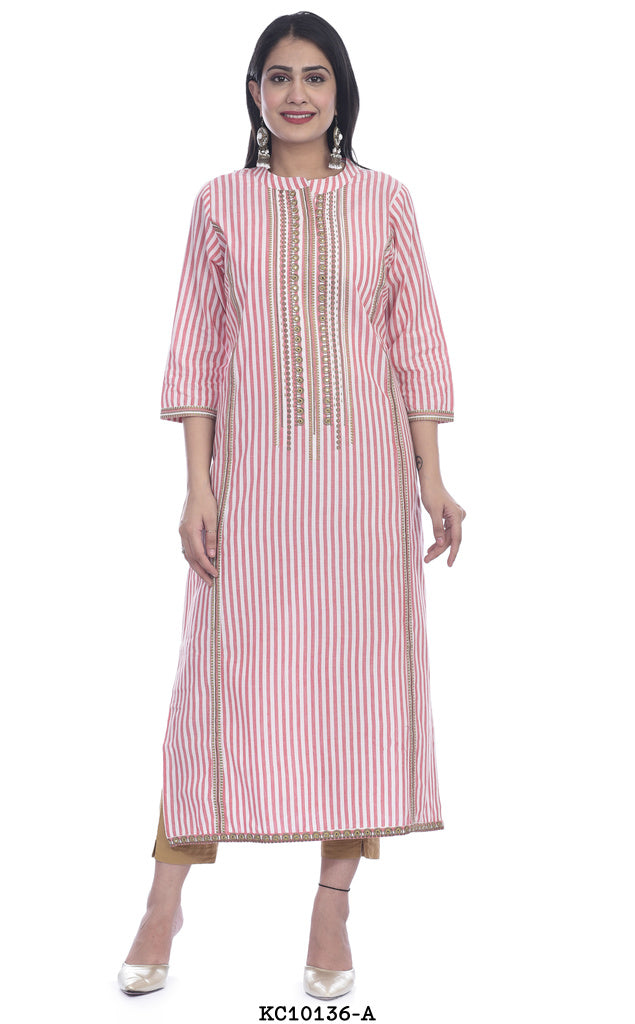 Light pink high neck printed kurti
