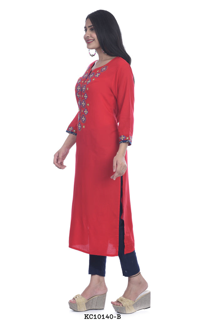 Red color straight printed kurti