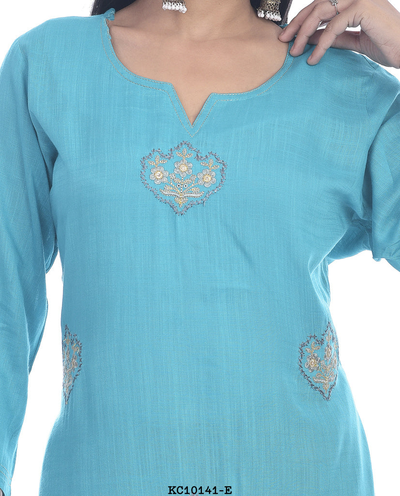Blue color straight printed kurti