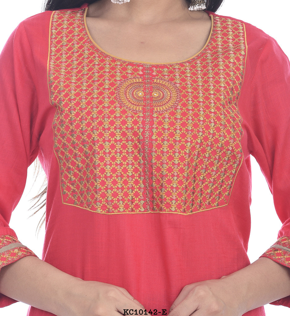 Red rounded neck printed kurti