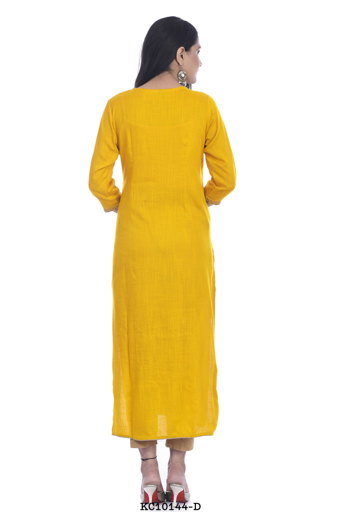 Designer Yellow color printed kurti