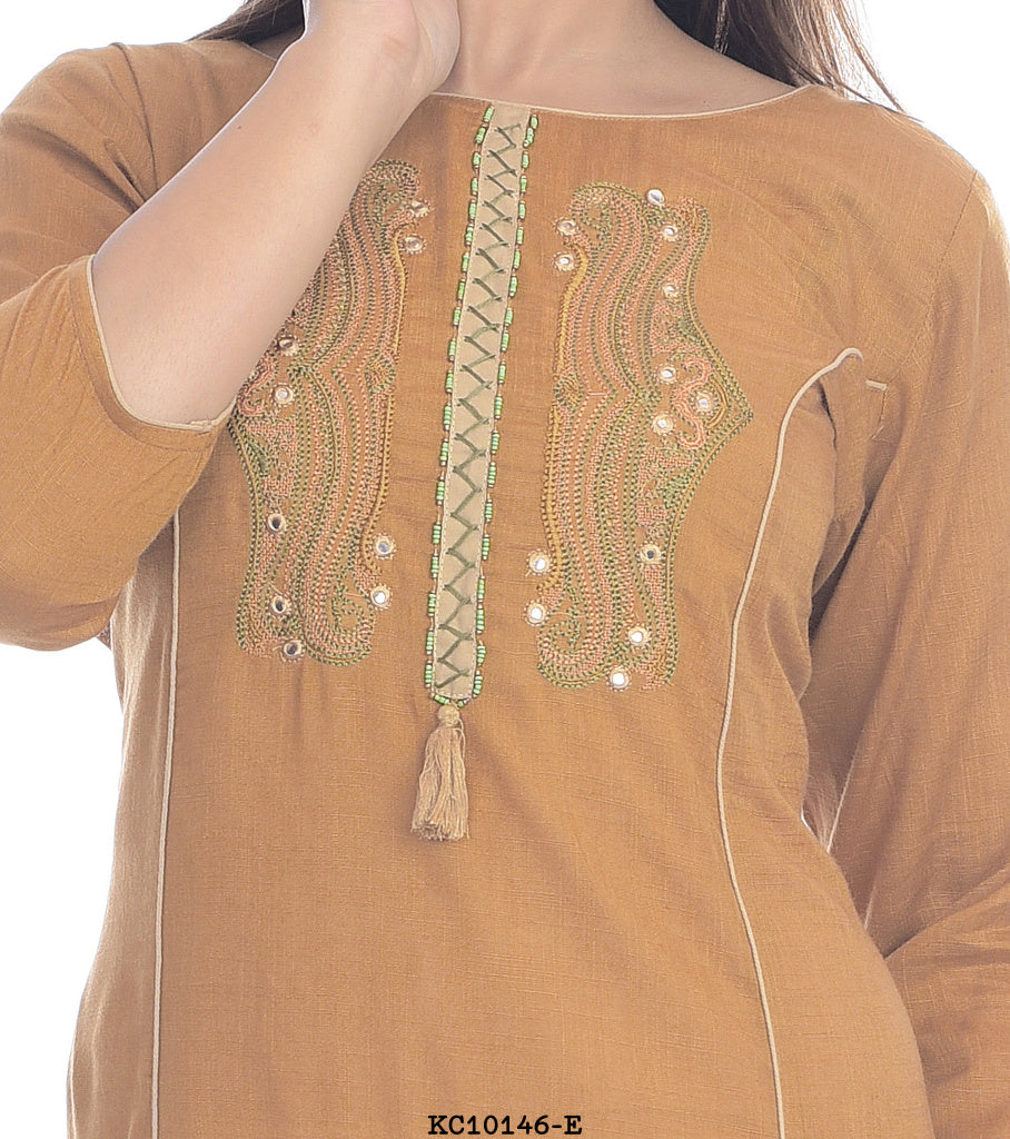 Light brown high neck printed kurti