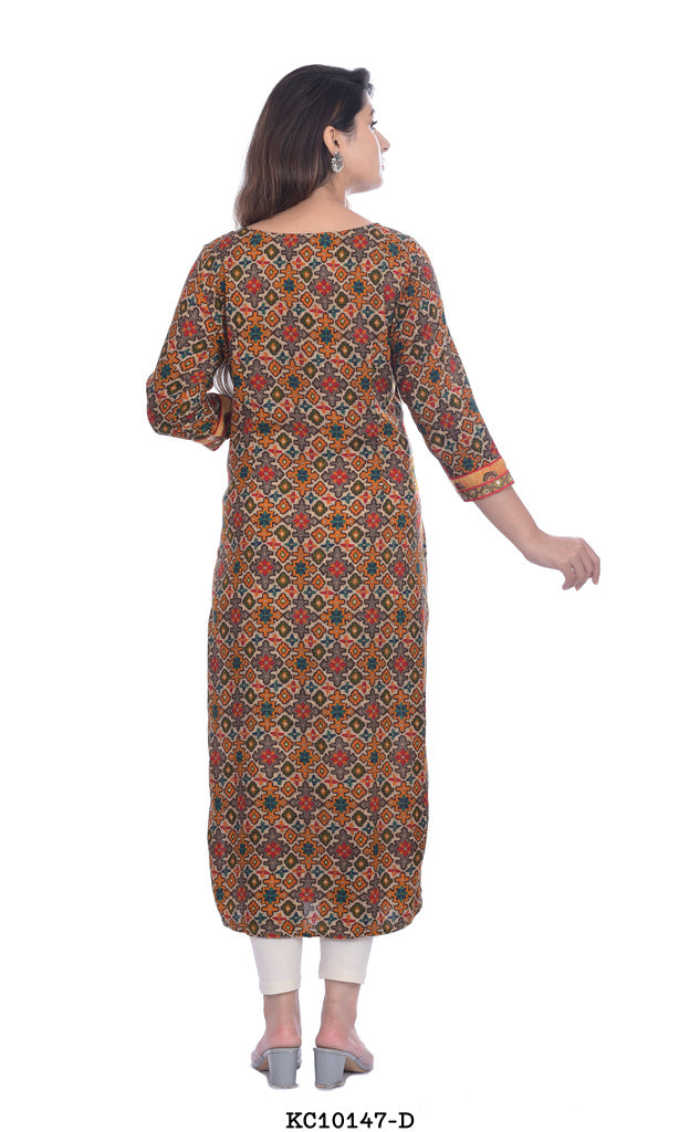 Brown and yellow designed kurti