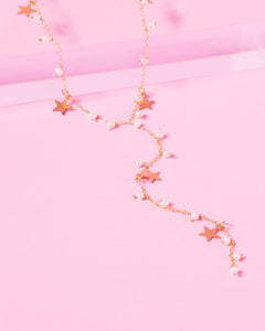 MADELINE 14K GOLD FILLED PEARL AND STARS DROP NECKLACE