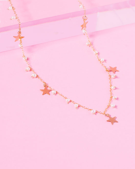 MATILDA 14K GOLD FILLED PEARL AND STARS NECKLACE