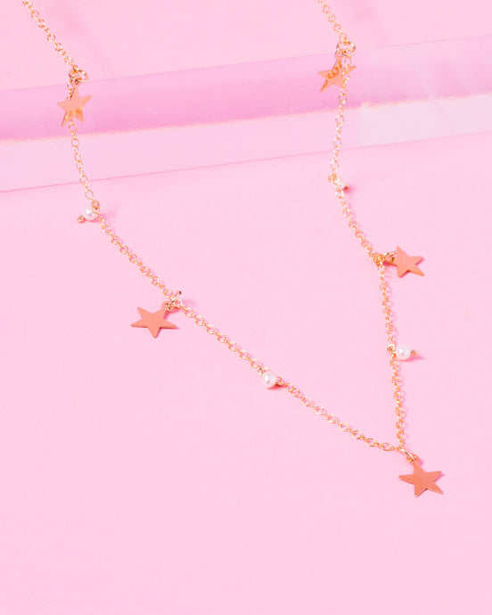 MABEL 14K GOLD FILLED PEARL AND STARS NECKLACE