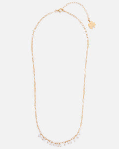 ELLA 14K GOLD FILLED PEARL AND PAPERCLIP CHAIN NECKLACE