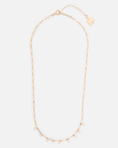 OLIVIA 14K GOLD FILLED PEARL AND FANCY CHAIN NECKLACE
