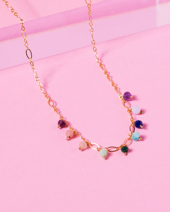 RAINBOW OLIVIA 14K GOLD FILLED FANCY CHAIN NECKLACE
