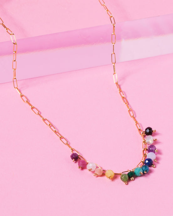 RAINBOW ELLA 14K GOLD FILLED PAPERCLIP CHAIN NECKLACE