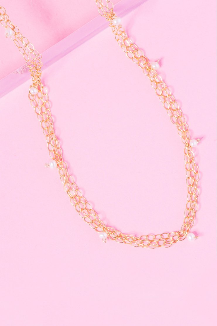 CAGED 14K GOLD FILLED PEARL CHOKER
