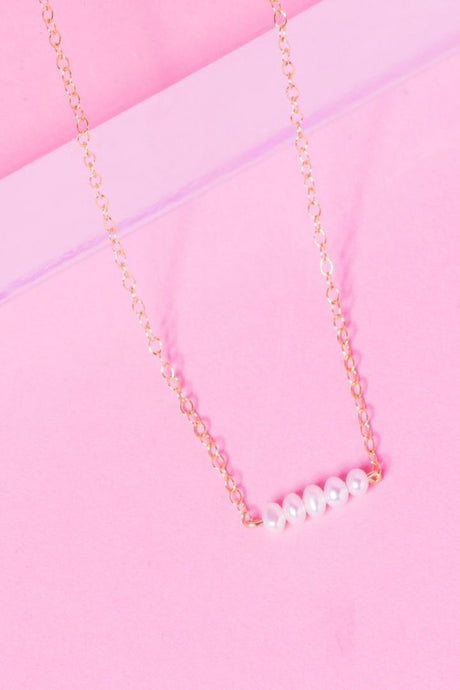 CLUSTER 14K GOLD FILLED PEARL BAR NECKLACE