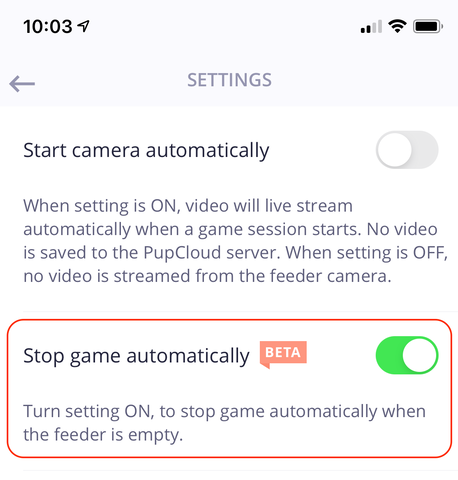 Setting to stop PupPod Rocker game automatically when feeder is empty