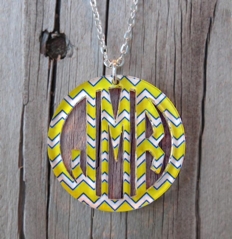 Bordered Monogram Pendant Necklace in Chevron or Weave Pattern
