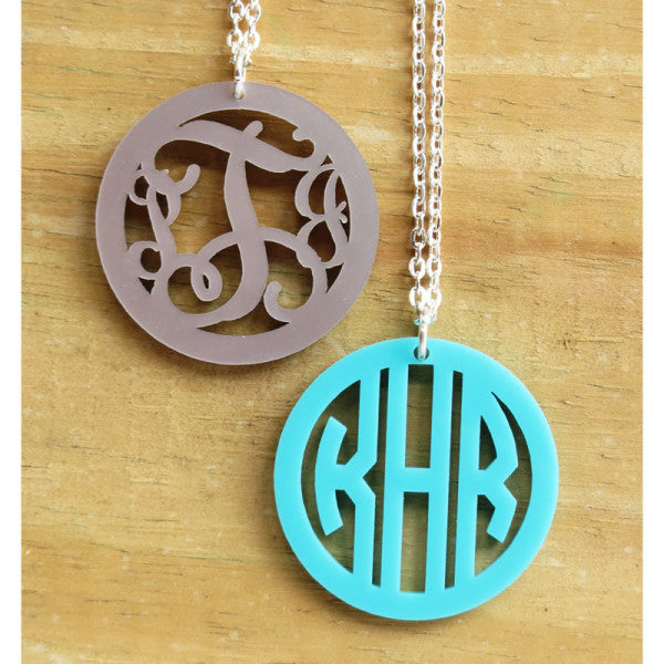 Bordered Monogram Pendant Necklace