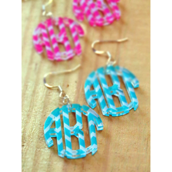 Monogram Earrings in Chevron or Weave Pattern
