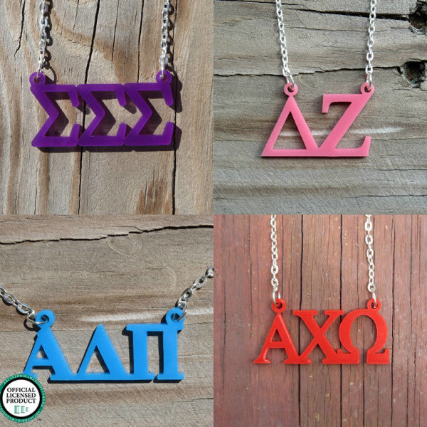 Floating Greek Letters Necklace