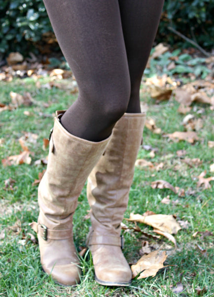 Fleece Lined Leggings in Brown
