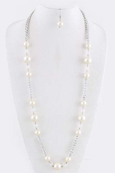 Pearl and Chain Necklace and Earring Set