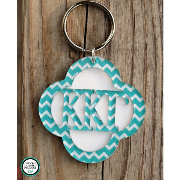 Greek Clover Layered Keychain in Chevron
