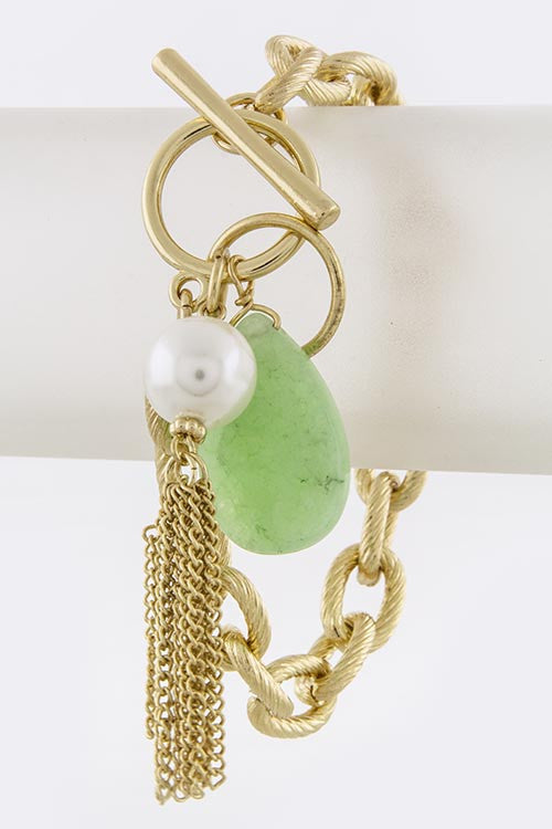 Pearl and Stone Charm Bracelet in Mint