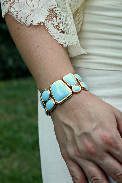 Aqua and Gold Stretch Bracelet