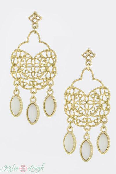 Gold and Ivory Chandelier Earrings