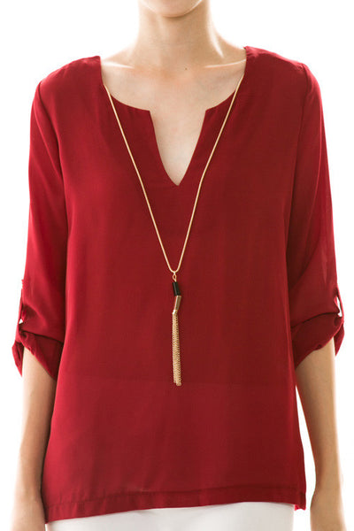 Chiffon Blouse in Burgundy