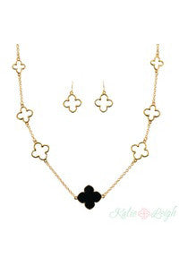 Clover Link Necklace and Earring Set-3 colors!
