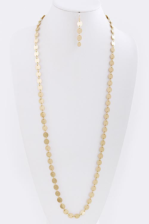 Gold Circle Necklace Set