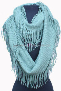 Mint Infinity Scarf with Fringe