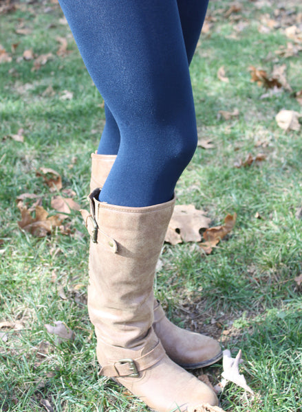 Fleece Lined Leggings in Navy