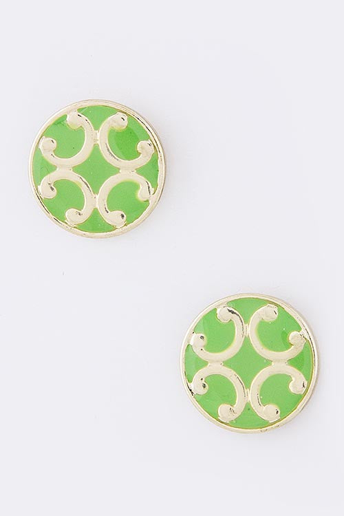 Round Filigree Stud Earrings