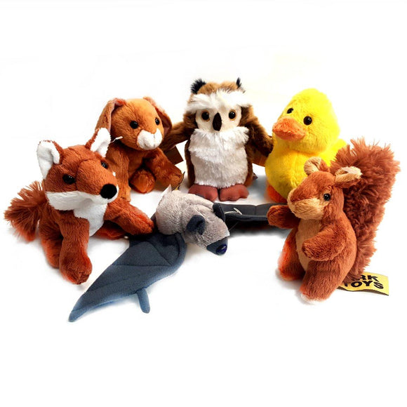 Set of 6 Woodland Animal 13cm Soft Toys, suitable for all ages