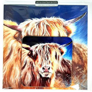 Wild Side Highland Cow Greetings Card by Catherine Cook