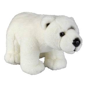 This Polar Bear cuddly plush toy measures 28 cm and is suitable for all ages.  CE tested and certified and made from high quality materials delivering you a superb product that will be cherished for years.  The super soft huggable filling in this toy is made from recycled PET.