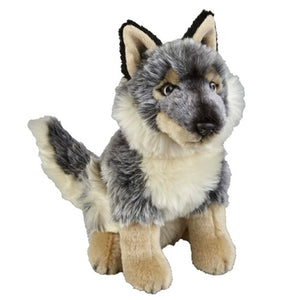 This Wolf cuddly plush toy measures 28 cm and is suitable for all ages.  CE tested and certified and made from high quality materials delivering you a superb product that will be cherished for years.  The super soft huggable filling in this toy is made from recycled PET.