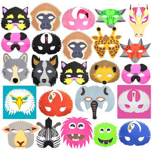 30 Pack of CHildrens P{arty Masks Jungle Dinosaur Monster and Unicorn