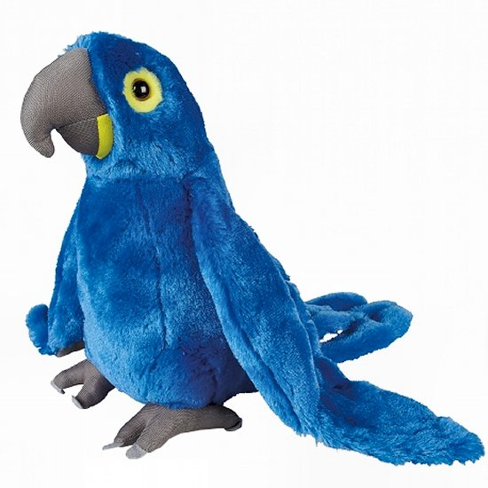 This Bright Blue Hyacinth Macaw cuddly soft toy measures 30 cm and is suitable for all ages.  CE tested and certified and made from high quality materials delivering you a superb product that will be cherished for years.