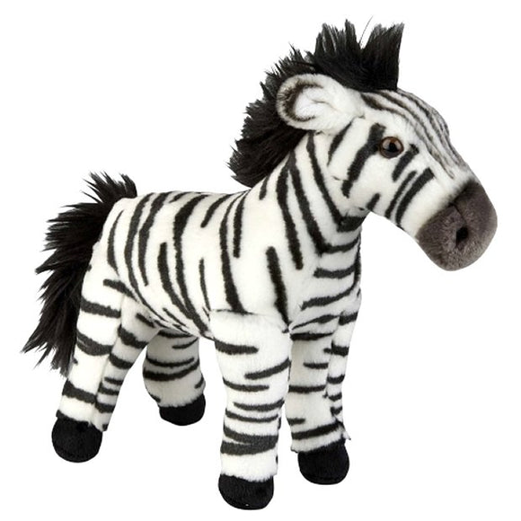 This Zebra cuddly plush toy measures 36 cm and is suitable for all ages.  CE tested and certified and made from high quality materials delivering you a superb product that will be cherished for years.  The super soft huggable filling in this toy is made from recycled PET.